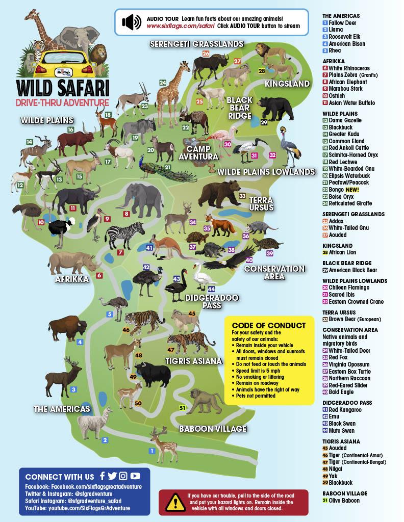 Wild Safari Drive-Thru Adventure Route Map